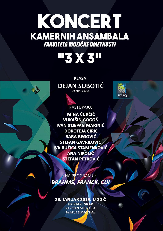 """Koncert kamernih ansambala Fakulteta muzičke umetnosti """"3×3"""""""