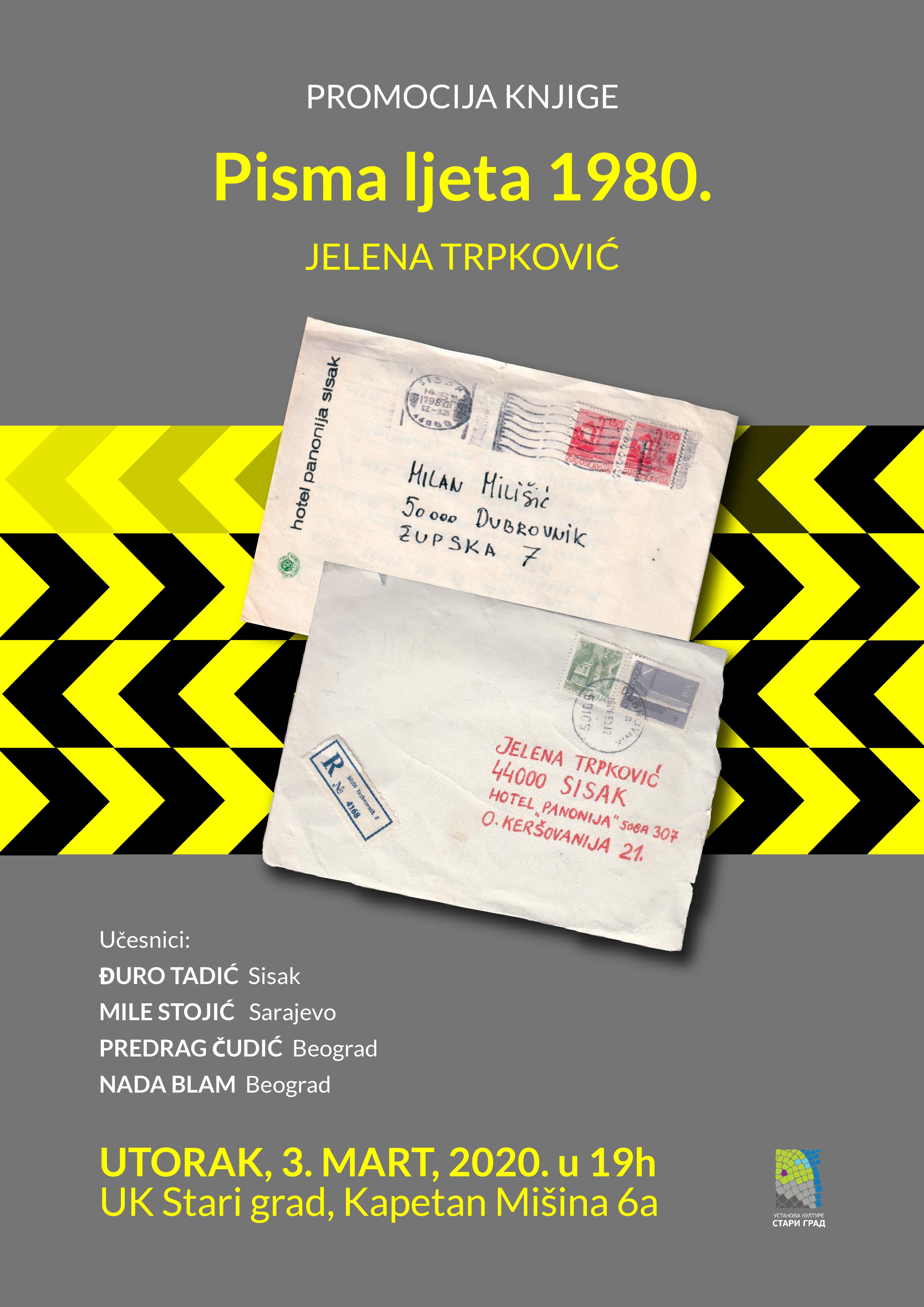 """Promocija knjige """"Pisma ljeta 1980."""" Jelena Trpković"""