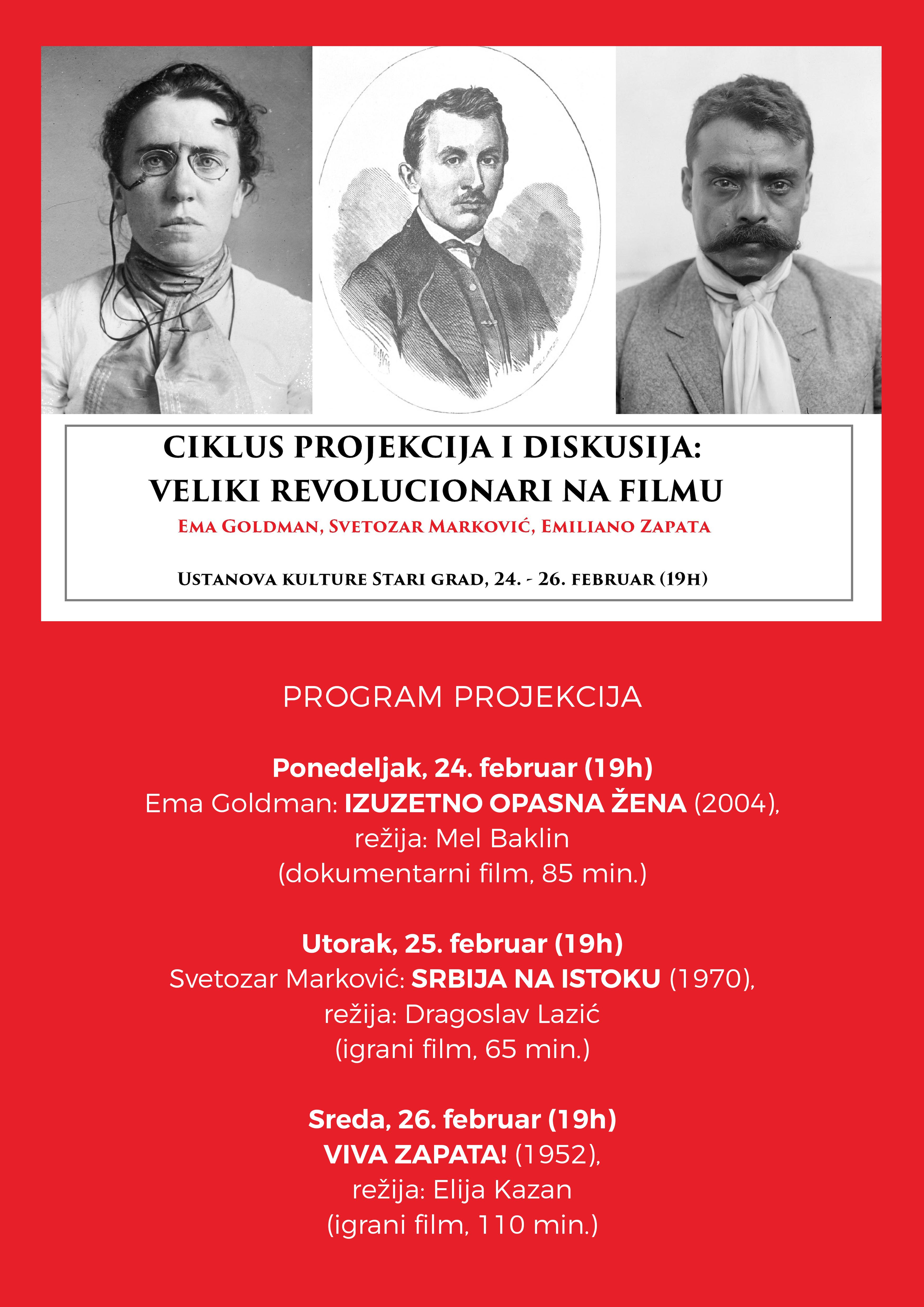 Ciklus projekcija i diskusija: Veliki revolucionari na filmu