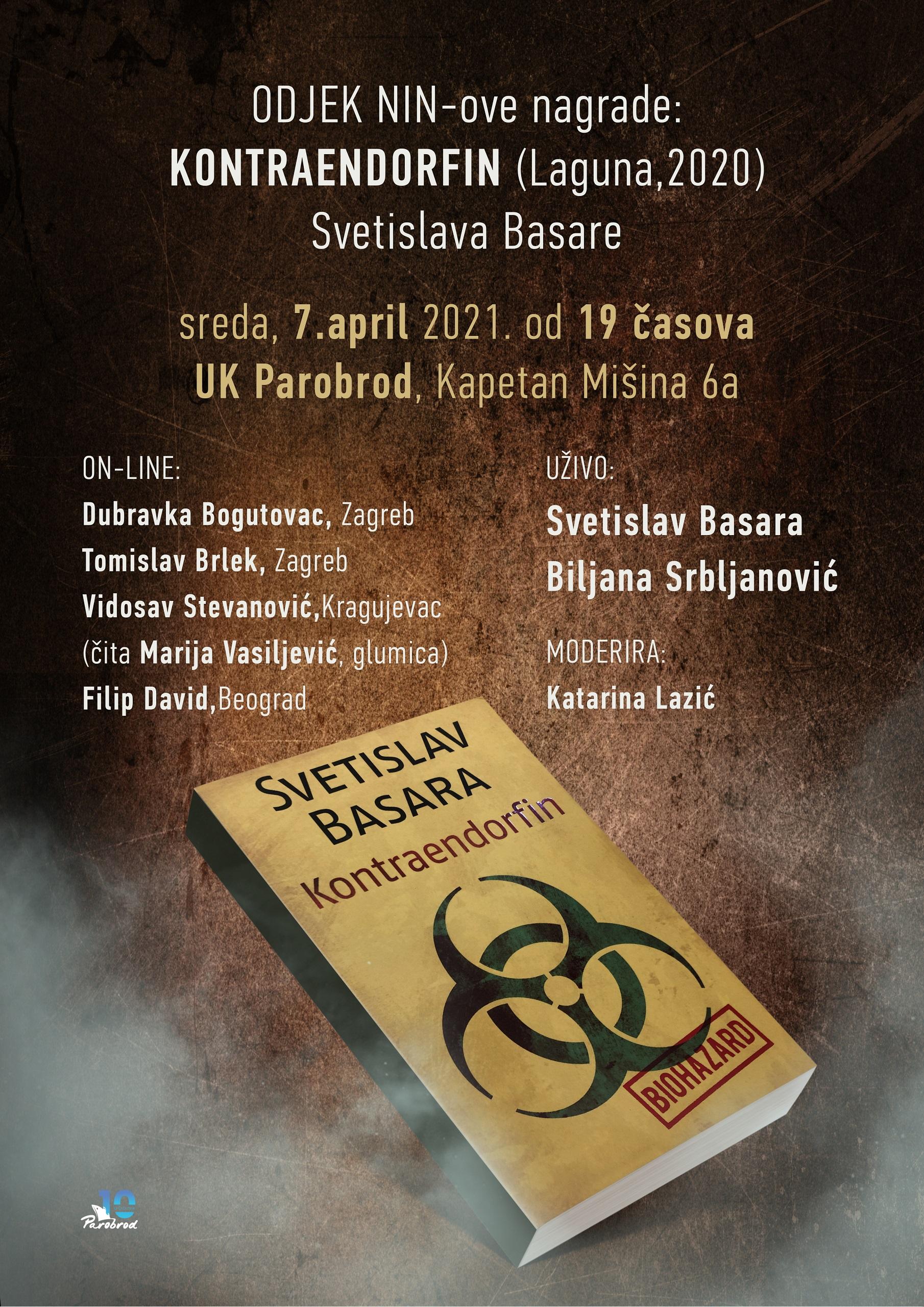 Odjek NIN-ove nagrade: KONTRAENDORFIN Svetislava Basare